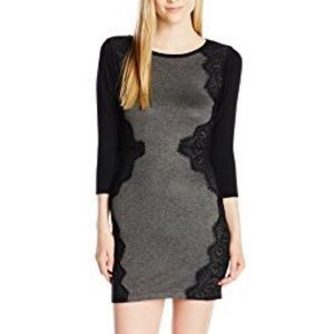 3/4 Sleeve Sweater Dress with Side Lace